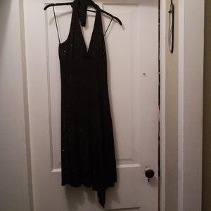 Black halter top dress with pink sparkle swirl